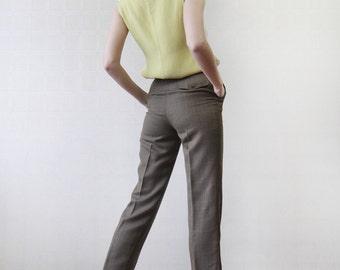 GERARD DAREL Khaki green brown plaid skinny cigarette tapered capris pants XS-S