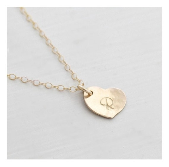 14k gold filled dainty initial necklace by edenzoe