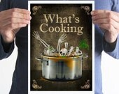 What's cooking,a4 poster,kitchen,home decor,Halloween,skull,skeleton,art,funny,digital print,Gothic,