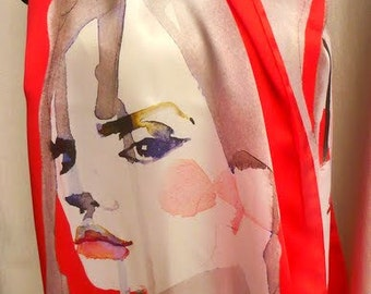 Pure natural silk scarf, woman face print, red, white, elegant, hand dyed, very long soft and light natural silk scarf, gift idea