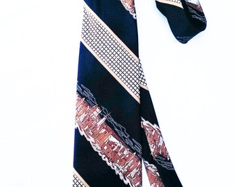Vintage 70's Skyline Woven Men's Tie - Made in USA