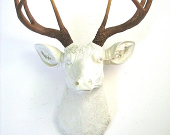 SALE! Faux Taxidermy Cream, (off-white) Deer Head wall mount wall hanging wall decor w/ natural looking antlers home decor faux animal head