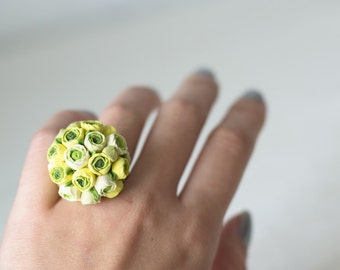 SALE Yellow flower ring - yellow jewelry - adjustable ring - ring flower - flower jewelry - blossom ring
