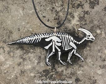 Painted Resin Parasaurolophus Skeleton Necklace