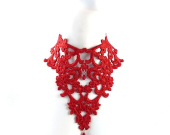Scarlet Red Bib Necklace - Lace Embroidery and Glass Bead - Women Jewelry, Prom, Spring, Ball, Statement, Romantic