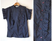 60s Pinafore Blouse / Ruffled Bib Collar Blouse / Dark Blue Yellow / Asymmetrical Button Front Shirt / Ruffled Cap Sleeve Blouse / Small XS