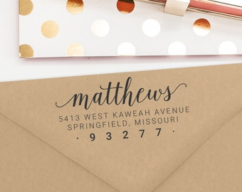 Custom Address Stamp, Self Inking Stamp or Wood Mounted Rubber Stamp, Return Address Stamp, Personalized Stamp, Bridal Shower Gift (T162)