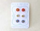 Tiny Stud Earrings in Red, White and Blue. Small Round Studs with Gold Starburst Engraving. Vintage Glass Cabochon Earring Set of Three.