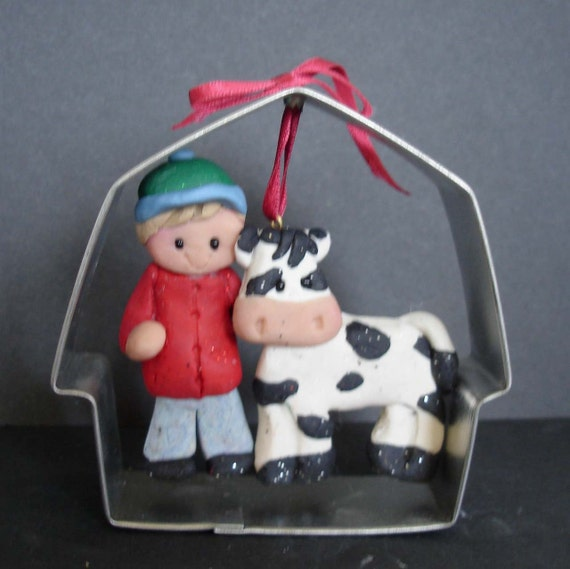 metal tractor wedding cake topper dairy cow ornament holstein milk farmer 17269