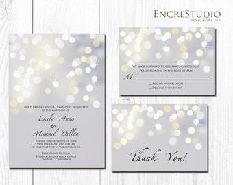Silver Bokeh Wedding Invitation - printed on metallic pearl paper