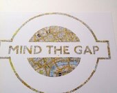 Large A3 - MIND THE GAP - Hand paper cut made for Claredebono  a Vintage Map of London // Handmade in England