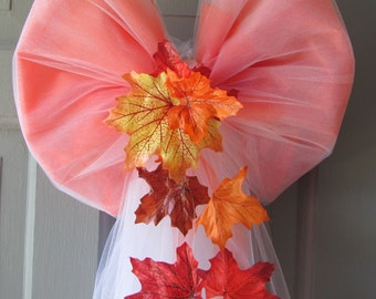 Autumn Wedding Pew and Door Bows Handmade Fall Wedding Decorations For Pews, Doors and Chairs