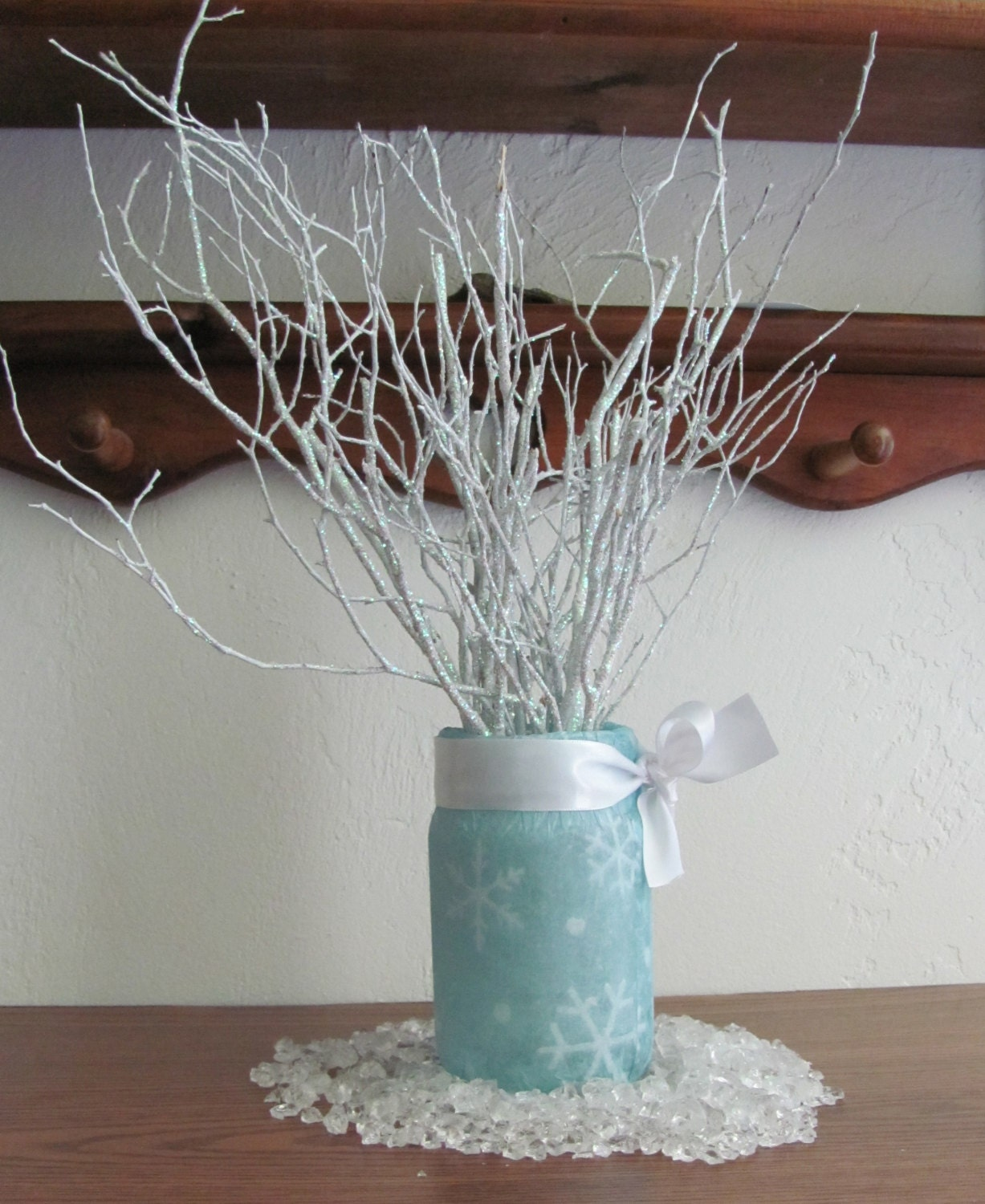 Winter wedding centerpieces blue and by