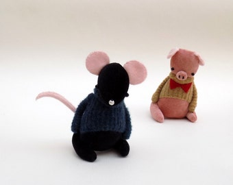 Black Velour Mouse  -  Handmade plush mouse wearing blue cashmere pullover .