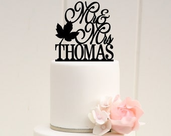 Mr and Mrs Fall Leaf Wedding Cake Topper with YOUR Last Name - 0171