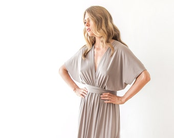 Taupe maxi bat sleeves formal dress