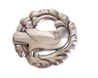 Georg Jensen Sterling Dove Brooch 165 Vintage Silver Midcentury Modernist Jewelry Collectibles Scandinavian Design 1940s