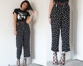 90s Black crepe rayon loose wide leg cropped polka dot pants