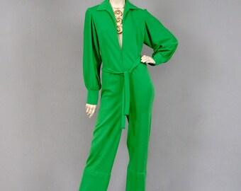Vintage 1970s Charlies Angels Era Raglan Sleeved Belted Long Jumpsuit With Plunging Neckline