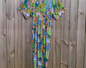 L Large Vintage Adini Made in India Cotton Rayon Hipster Indie Girl Fruit Novelty Print Statement Open Back Romper Jumpsuit