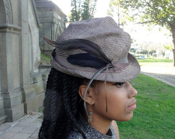 Straw Hats- Taupe,Light Brown,Tan Hat-New Hand Blocked- Vintage Inspired Hat w/Brim, Feather Trim