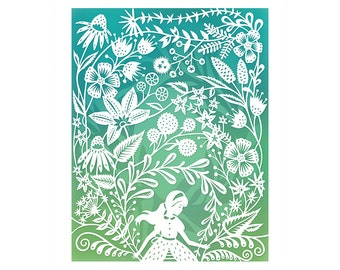5x7 Print - Secret Garden - Original Papercut Illustration