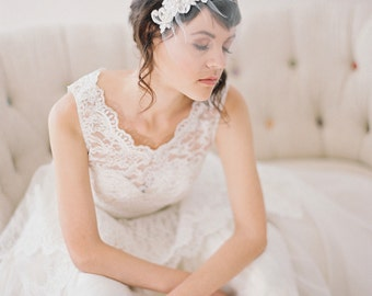 Short Beaded Lace Birdcage Veil, Small Tulle Birdcage Veil with Hand Beaded Lace #717V