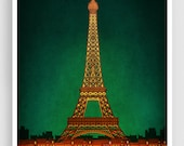 PARIS by night - Paris illustration Art illustration Eiffel tower Art Poster Paris art Wall art Parisian home decor Living room art Green