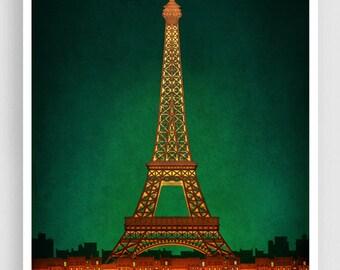 PARIS by night - Paris illustration Art illustration Eiffel tower Art Poster Paris art Wall art Parisian home decor Living room art Green