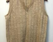 Men's Vintage Vest Cable Knit Wool Sweater Vest Wheat Color SZ Mens Small
