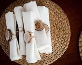 White napkins  - Wedding table set- cloth white napkin set - Dinner napkins set of 6- white linen napkins - size 18x18 inch  0281