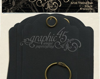 Graphic 45 Artist Trading Tags - Black
