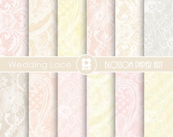 Lace Digital Paper, Wedding Digital Papers, Pastel Colors, Scrapbook Digital Paper Pack, Lace - INSTANT DOWNLOAD  - 1918