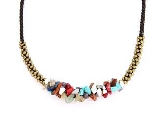 Multi Colored Thai Shells Necklace Handmade With Brass Beads Thailand Handmade  (N022-MUSHELL)