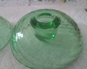 Green Glass Candle Holders Unmarked