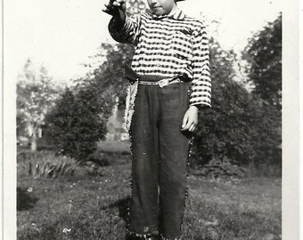 Old Photo Boy Cowboy Pointing Gun Photographers Shadow 1930s Photograph snapshot vintage