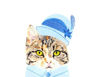 Cat Gift Cards - Downton Tabby Cat - Cat in Edwardian Hat and Blouse
