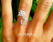 Anchor Ring, Wheel Helm Anchor Wrap Ring, Sterling Silver Anchor Ring