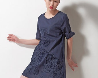 cotton dress linen dress embroidered dress mini dress in color blue