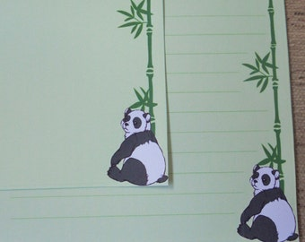 Letter paper - cute panda bear drawing - animal writing paper - stationery paper