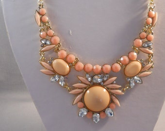 SALE Bib Necklace with a Peach Beads and Clear Rhinestone Pendant on a Gold Tone Chain