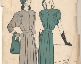 Vintage 1940s Butterick Pattern 3608 Ladies Dress Size 14 Bust 32