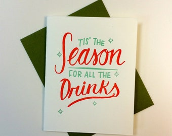 All The Drinks letterpress card