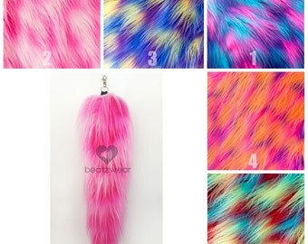 MADE TO ORDER tail fox tail cat tail faux fur accessories furry tail choose your colors fur tail with swivel key chain cosplay costume