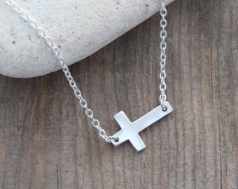 Sideways Sterling Silver Cross Necklace,  Celebrity Inspired Necklace, Horizontal Cross necklace
