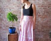 Gunne Sax Skirt - Pink Floral Print - Lace - Satin - 1970s - 70s