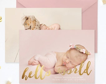 Birth Announcement Template, Birth Announcement Girl, Birth Announcement Template Boy, Photography Templates, Photoshop Template - BA178