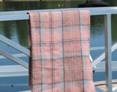 Vintage Wool Plaid Blanket,Cecchi e Cecchi Wool Blanket,Wool Plaid Throw,Italian Wool Blanket,Pink Grey Plaid Blanket,Free Shipping,63TT15