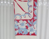 Vintage Tablecloth, Mid Century Floral Tablecloth, Glamper Cabin Picnic Tablecloth,Red White Blue Floral Tablecloth,Free Shipping,6MTT15