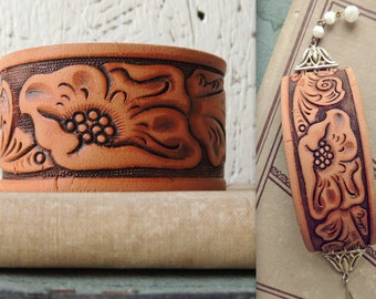 Tooled Leather Cuff Bracelet/Distressed Leather Bracelet/Chunky Boho Bracelet/Indie Bracelet/Rustic Leather Jewelry/Cowgirl /Western